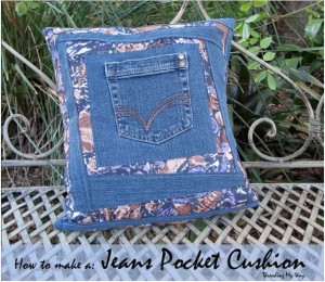 Denim Pocket Pillow Made From Recycled Jeans