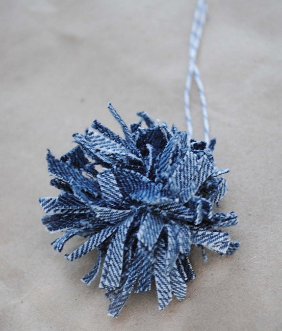 Denim Pom Poms Made from Old Jeans