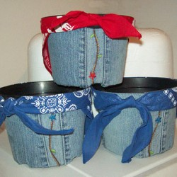 Cover a Container With Recycled Denim Jeans