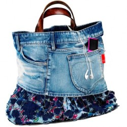 Denim Purse With Leather Handles
