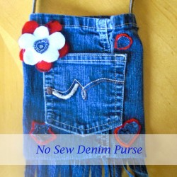 Fringed Denim Jean Purse