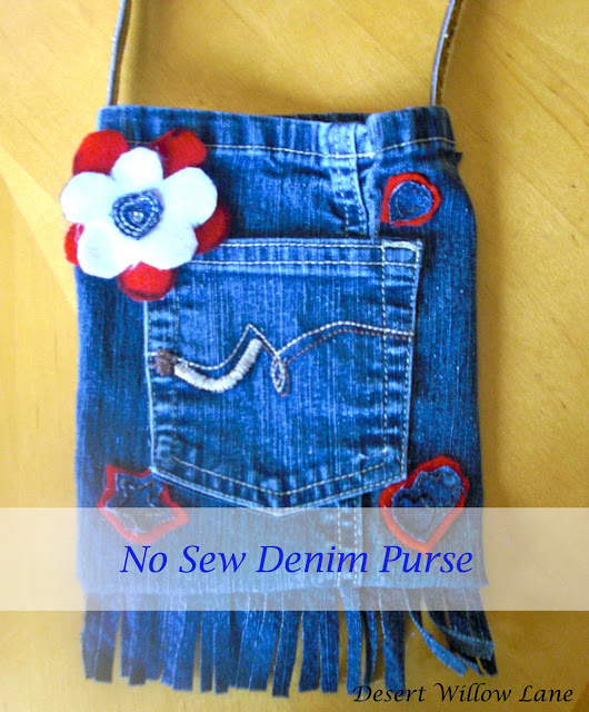 Fringed Denim Purse Made From Recycled Jeans