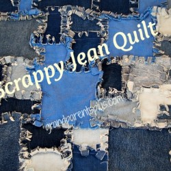 Patchwork Denim Quilt Made from Jeans