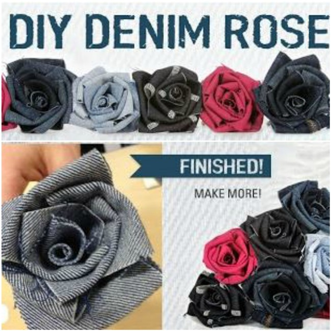 Denim Roses Made From Recycled Jeans