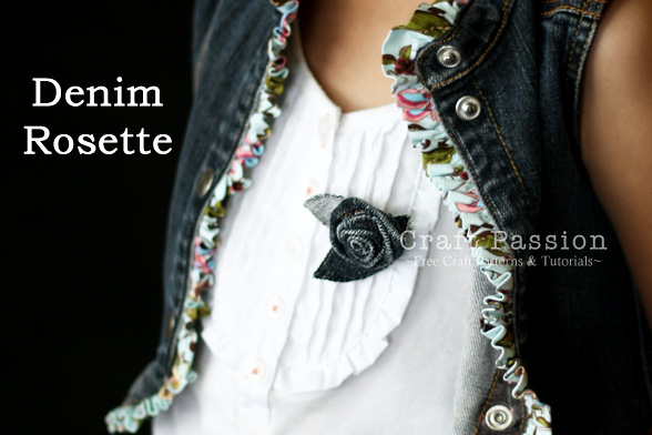 Denim Rosette Flower Made from Recycled  Denim Dress