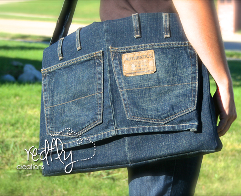 Denim Satchel or Messenger Bag Made From Recycled Jeans