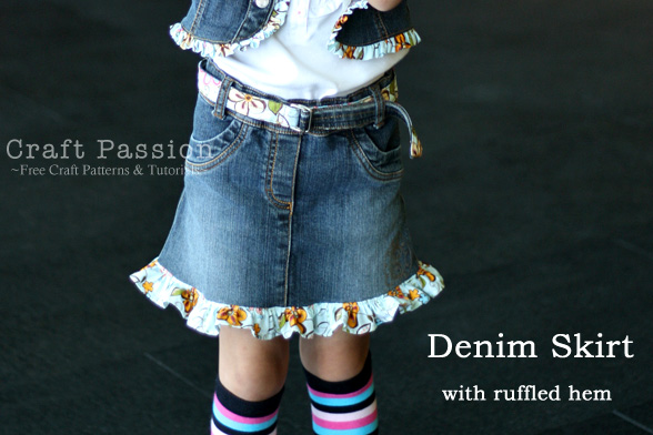 Denim Skirt Made From An Outgrown Denim Dress