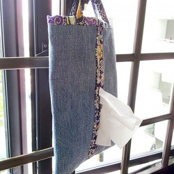 Denim Tissue Holder Made From Repurposed Jeans