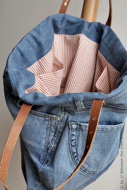 Denim Tote Bag Made From Jeans