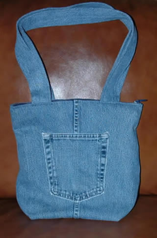 Denim Tote Bag Made From Recycled Denim Jean Fabric