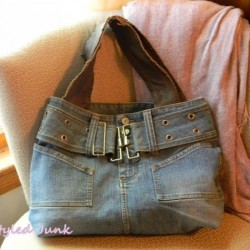 Denim Tote Bag Made From a Recycled Jean Skirt