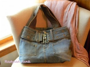 Denim Tote Made From Denim Skirt