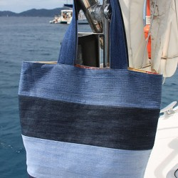 Toile-Lined, Tote Bag Made from Jeans