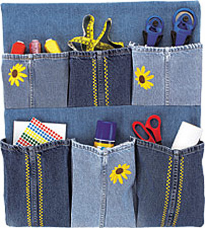 Denim Wall Storage Pockets Made from Old Jeans