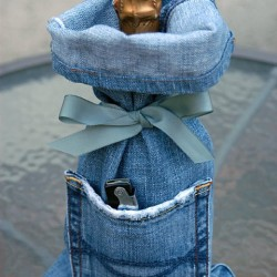 Denim Wine Gift Bag Made From Repurposed Jeans