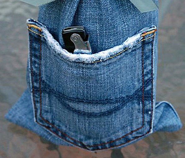 Hand-Crafted Denim Wine Gift Bag Made From Repurposed Jeans