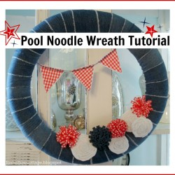Make A Wreath From Jeans For The 4th of July