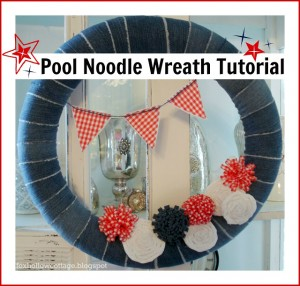 Denim Wreath Made From Pool Noodle