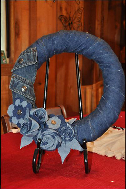 Denim Wreath Made from Recycled Jeans