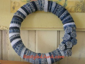 Denim Wreath Made from Seams of Old Jeans