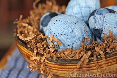 Easter Eggs Decorated with Recycled Denim