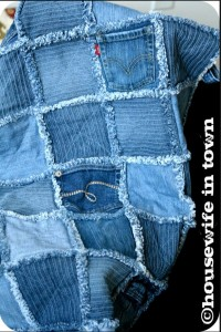 Frayed Denim Quilt Made From Recycled Denim Jeans