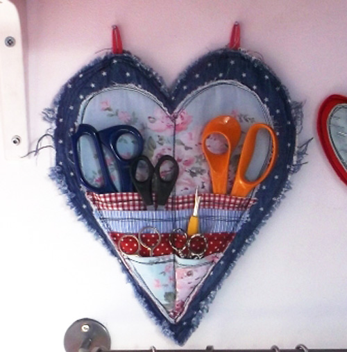 Hanging Scissor Organizer Made with Denim Jean Fabric