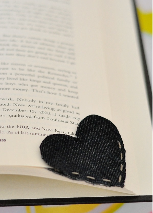 Heart Bookmark Made From Recycled Denim