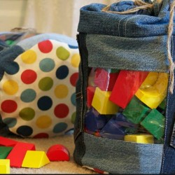 Denim Toy Storage Bag Made From Jeans