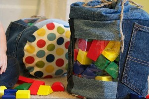 Jeans Recycled Into Toy Storage Bag