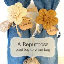 Wine Gift Bag Made From Jeans