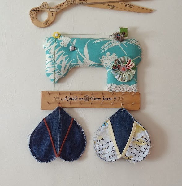 Make Denim Heart Potholders from Recycled Jeans