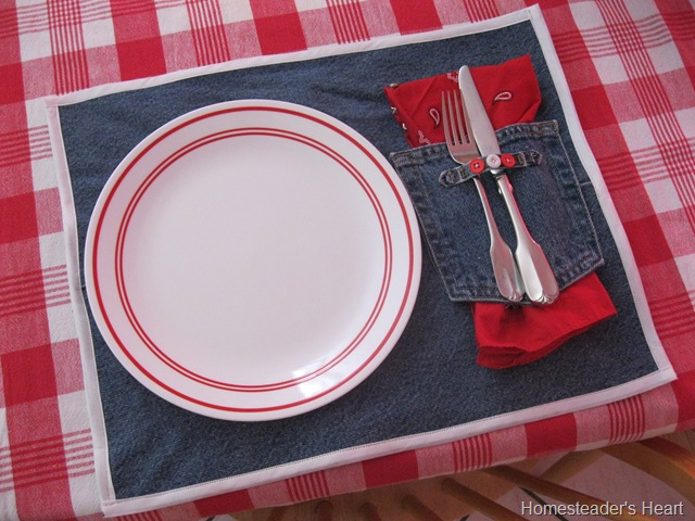 Make Denim Placemats from Repurposed Denim