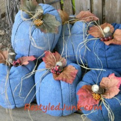 Halloween & Fall Pumpkins Made From Recycled Denim Jeans