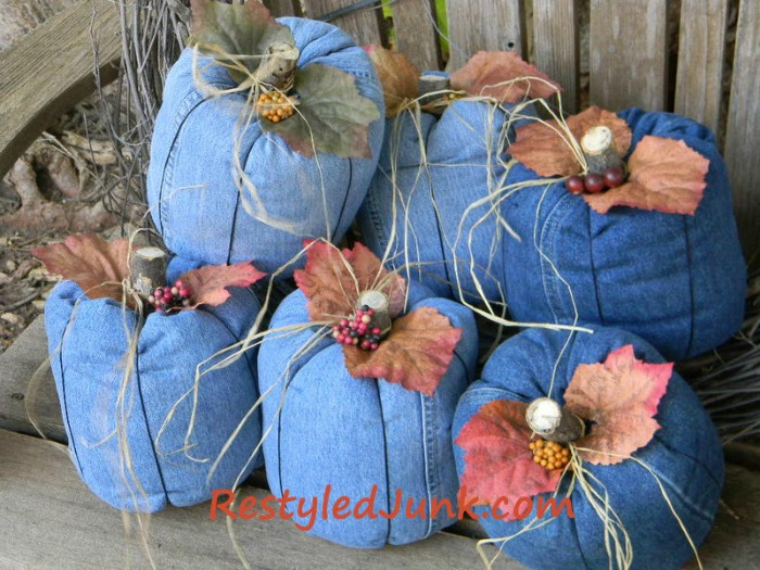 Make Denim Pumpkins From Recyled Jeans
