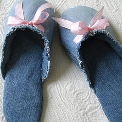 Bedroom Slippers Made from Repurposed Jeans