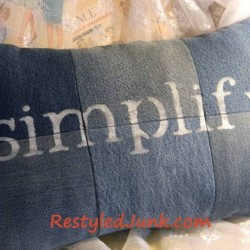A Denim Pillow Made From Recycled Jeans