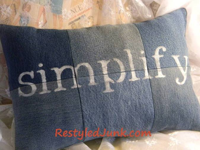 Make a Denim Pillow From Reycled Denim Jeans
