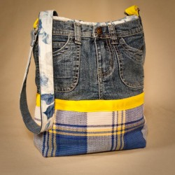 Make a Denim & Plaid Purse From Jeans