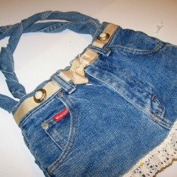 Denim Purse With Ruffle Lace Accent