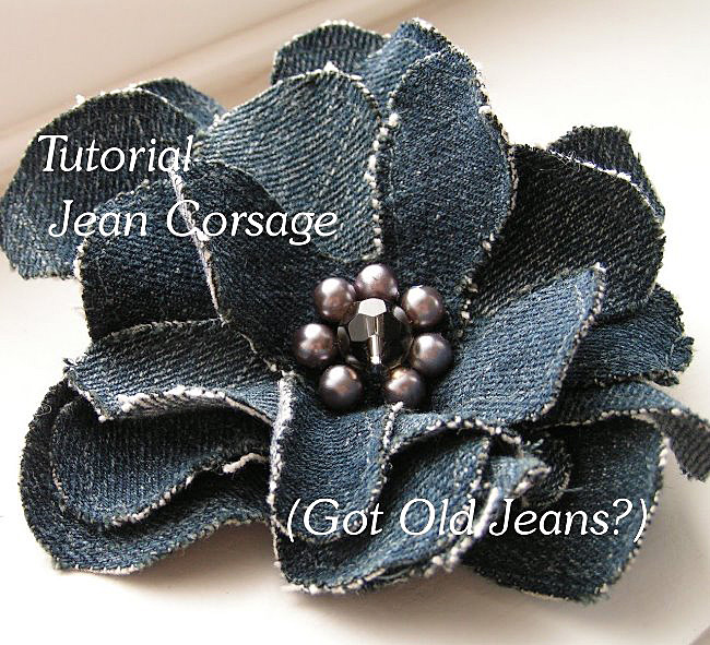 Denim Flower Pin Corsage