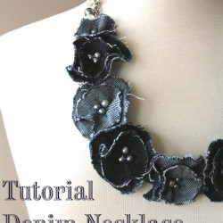 Denim Flower Necklace Made From Jeans