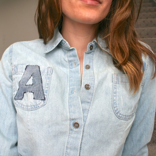 Monogram a shirt with recycled denim