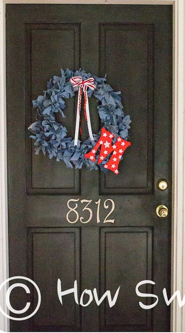 Monogrammed Wreath Made From Denim Jeans