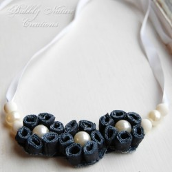 Denim & Pearl Flower Necklace Made From Jeans