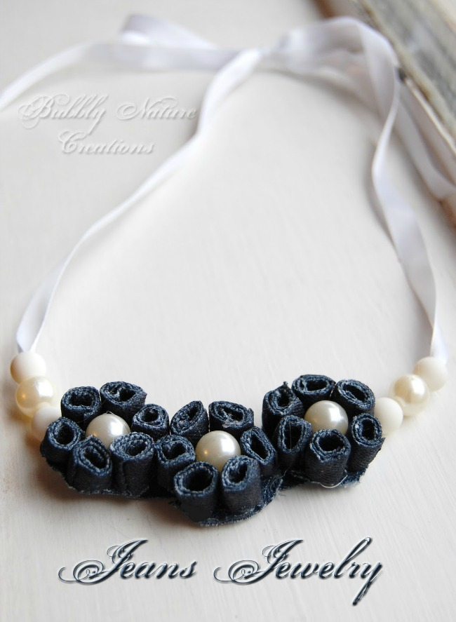 Necklace with Pearls Made From Repurposed Jeans