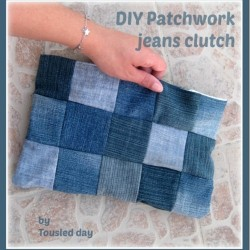 Patchwork Denim Clutch Purse