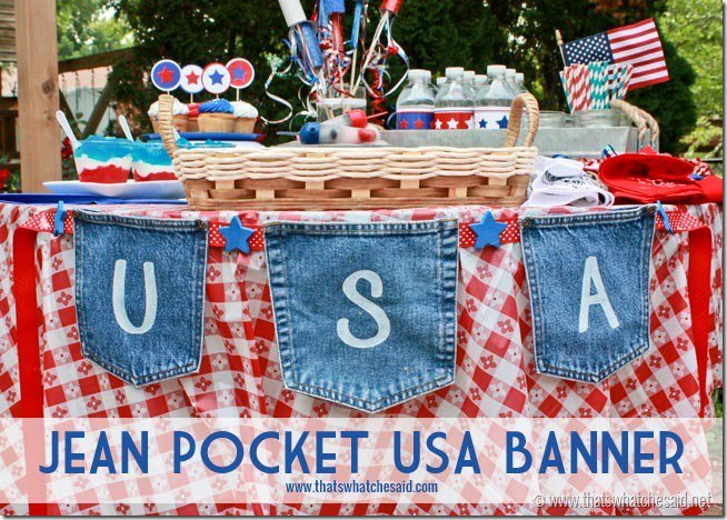 Patriotic Banner Made From Jean Pockets