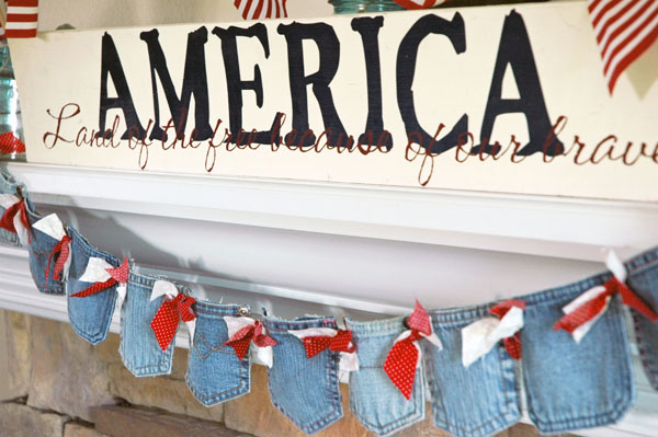 Patriotic Denim Banner Made From Jeans