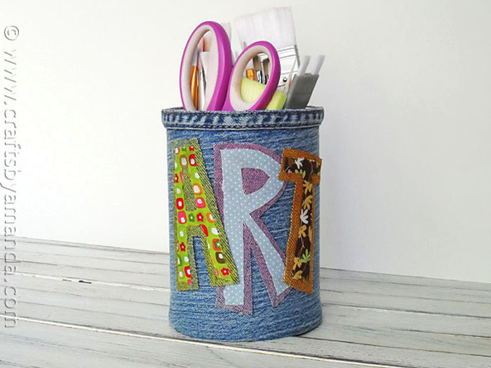 Pencil Holder for the Desk Made from Recycled Denim